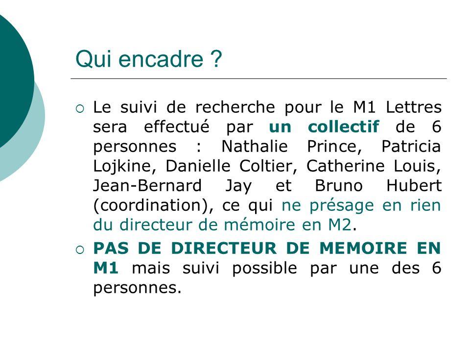 Qui encadre ? Le suivi de recherche pour le M1 Lettres sera effectué par un collectif de 6 personnes : Nathalie Prince, Patricia Lojkine, Danielle Col