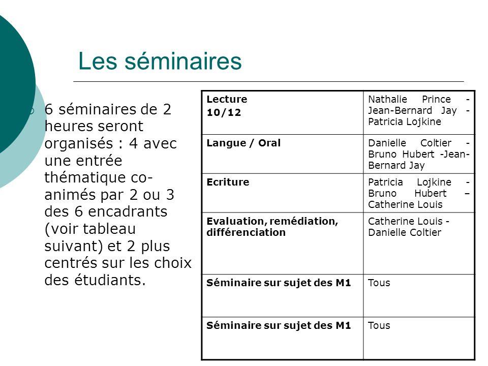Les séminaires 6 séminaires de 2 heures seront organisés : 4 avec une entrée thématique co- animés par 2 ou 3 des 6 encadrants (voir tableau suivant)