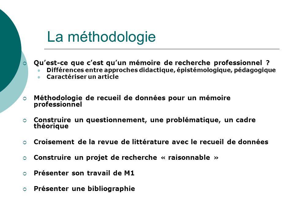 La méthodologie Quest-ce que cest quun mémoire de recherche professionnel ? Différences entre approches didactique, épistémologique, pédagogique Carac