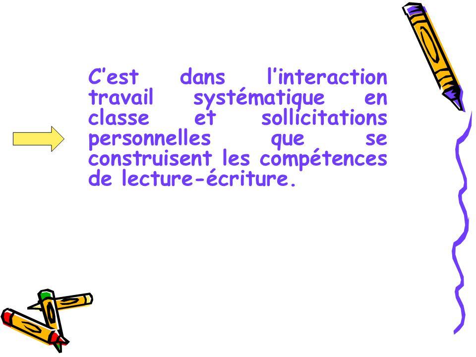 Cest dans linteraction travail systématique en classe et sollicitations personnelles que se construisent les compétences de lecture-écriture.