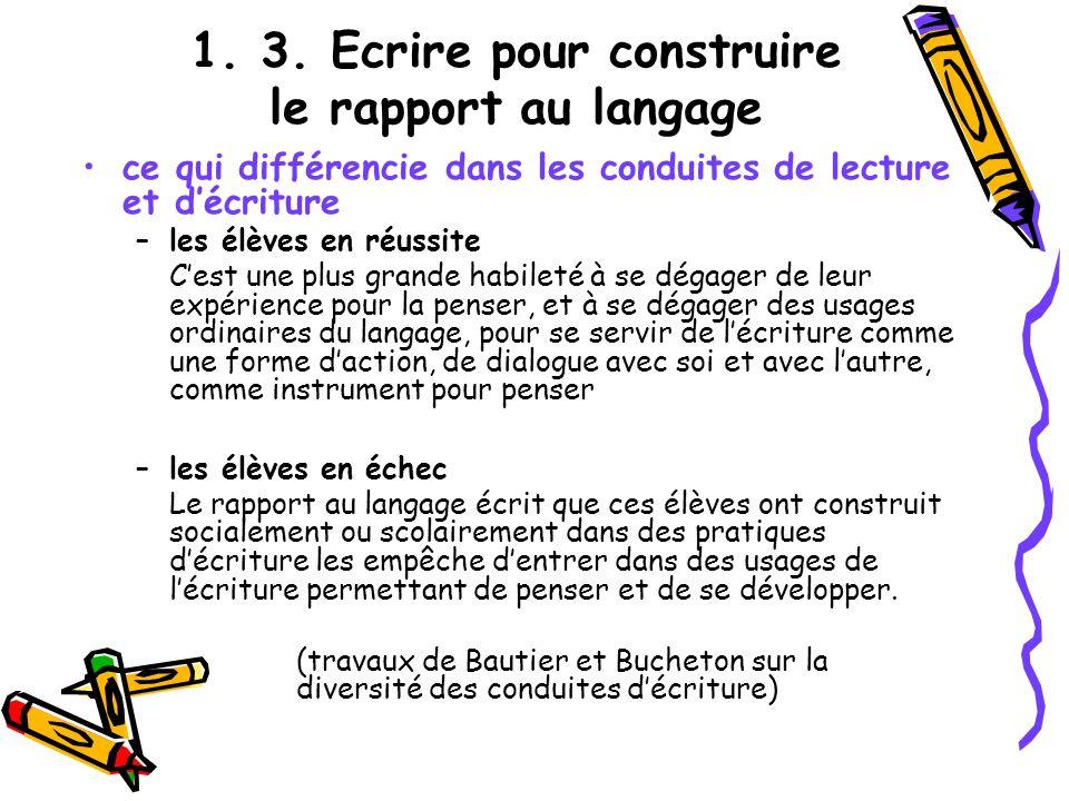 1. 3. Ecrire pour construire le rapport au langage ce qui différencie dans les conduites de lecture et décriture –les élèves en réussite Cest une plus