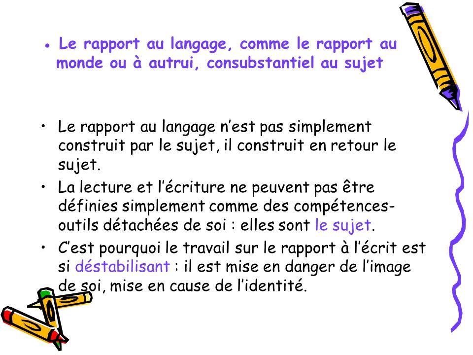 Le rapport au langage, comme le rapport au monde ou à autrui, consubstantiel au sujet Le rapport au langage nest pas simplement construit par le sujet