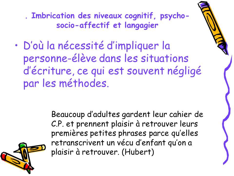 . Imbrication des niveaux cognitif, psycho- socio-affectif et langagier Doù la nécessité dimpliquer la personne-élève dans les situations décriture, c