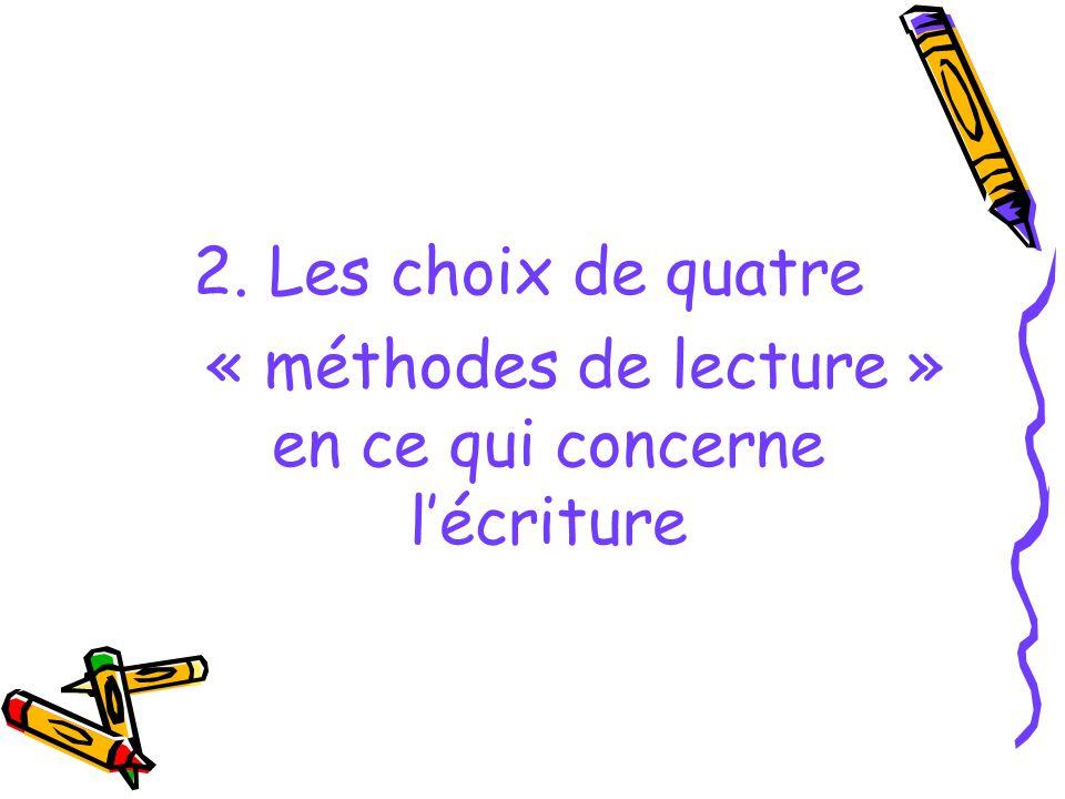 2. Les choix de quatre « méthodes de lecture » en ce qui concerne lécriture