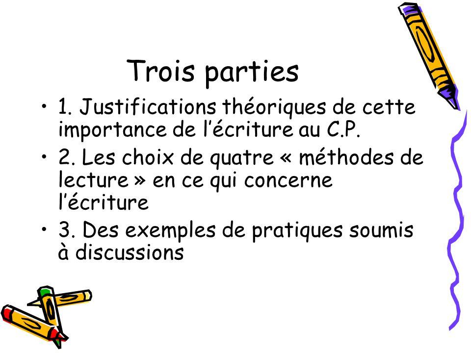 Trois parties 1. Justifications théoriques de cette importance de lécriture au C.P. 2. Les choix de quatre « méthodes de lecture » en ce qui concerne