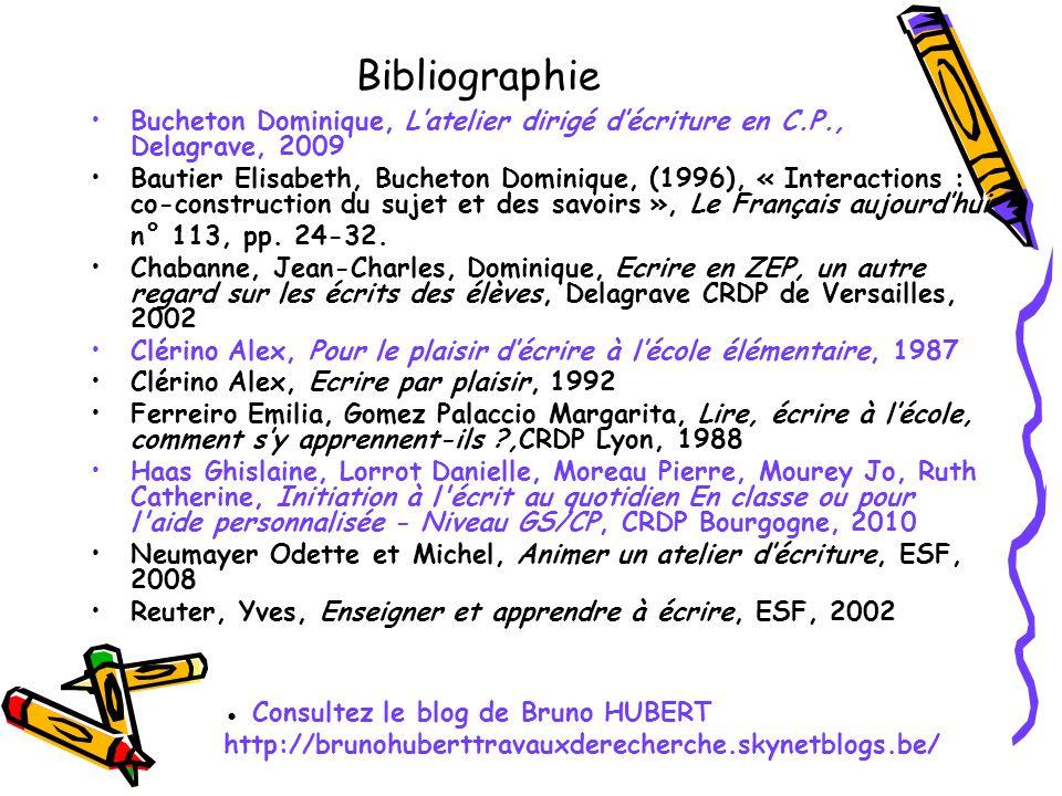 Bibliographie Bucheton Dominique, Latelier dirigé décriture en C.P., Delagrave, 2009 Bautier Elisabeth, Bucheton Dominique, (1996), « Interactions : c