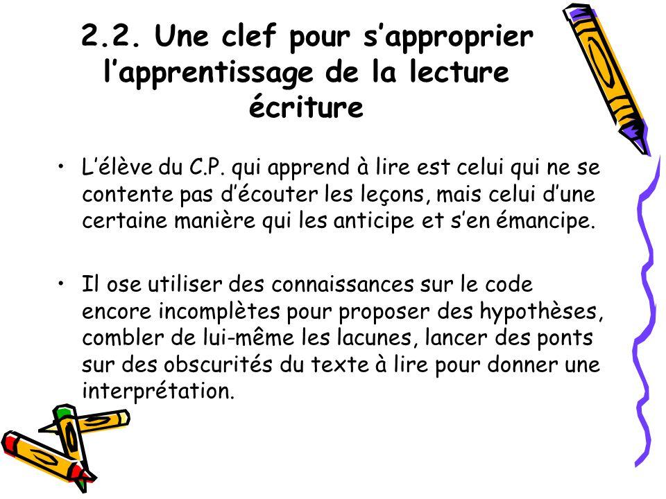 2.2. Une clef pour sapproprier lapprentissage de la lecture écriture Lélève du C.P. qui apprend à lire est celui qui ne se contente pas découter les l