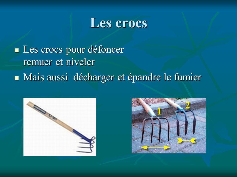 Les crocs Les crocs pour défoncer remuer et niveler Les crocs pour défoncer remuer et niveler Mais aussi décharger et épandre le fumier Mais aussi décharger et épandre le fumier