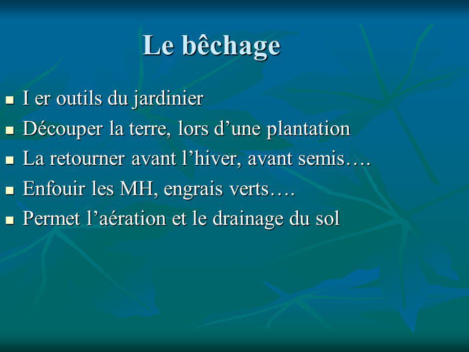Le bêchage I er outils du jardinier I er outils du jardinier Découper la terre, lors dune plantation Découper la terre, lors dune plantation La retourner avant lhiver, avant semis….