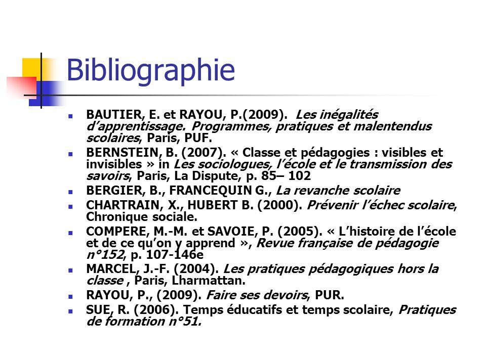 Bibliographie BAUTIER, E. et RAYOU, P.(2009). Les inégalités dapprentissage. Programmes, pratiques et malentendus scolaires, Paris, PUF. BERNSTEIN, B.