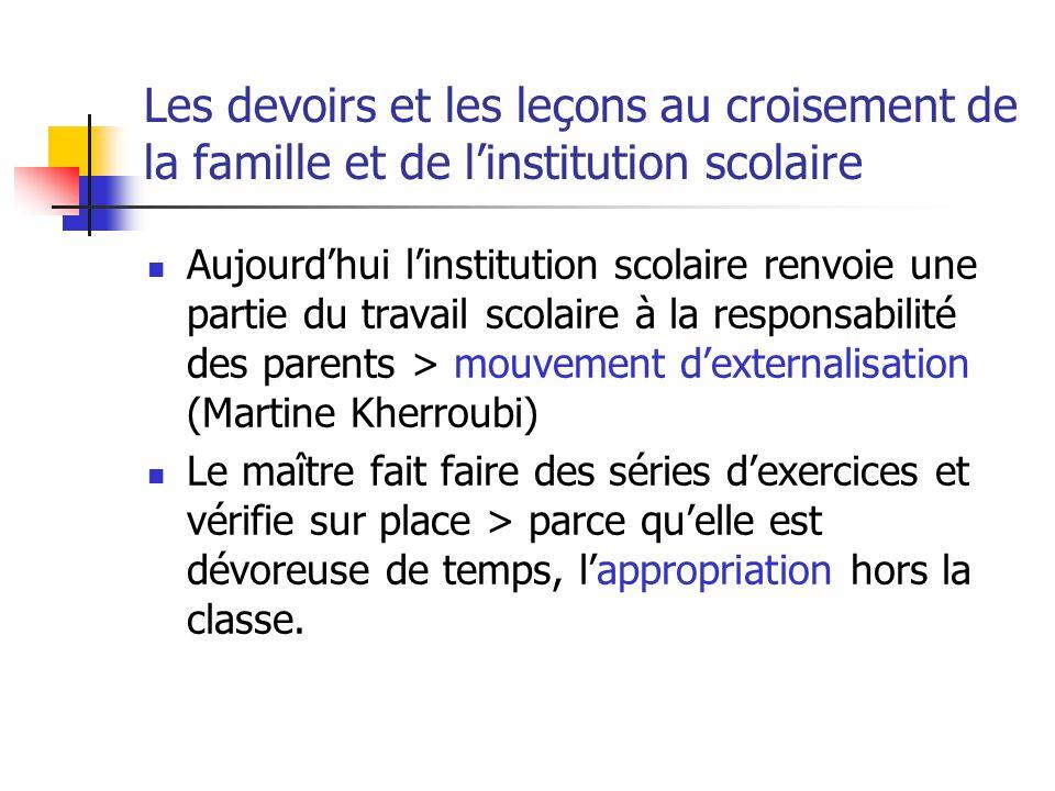 Les devoirs et les leçons au croisement de la famille et de linstitution scolaire Aujourdhui linstitution scolaire renvoie une partie du travail scola