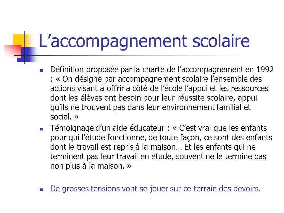 Laccompagnement scolaire Définition proposée par la charte de laccompagnement en 1992 : « On désigne par accompagnement scolaire lensemble des actions