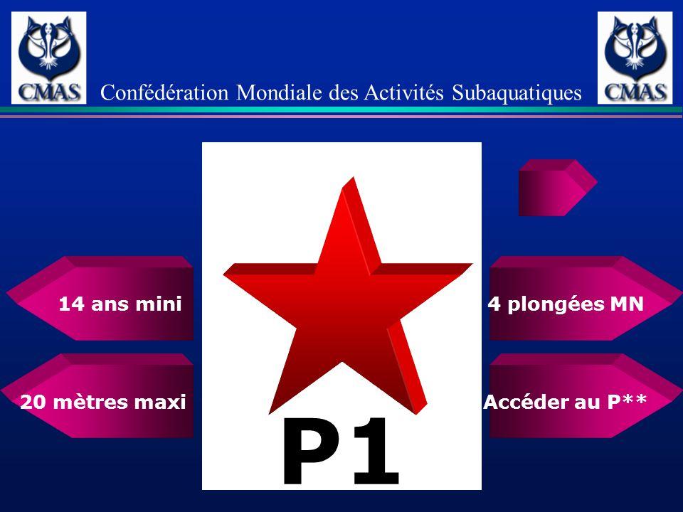 4 plongées MN 20 mètres maxi Confédération Mondiale des Activités Subaquatiques Accéder au P** 14 ans mini P1