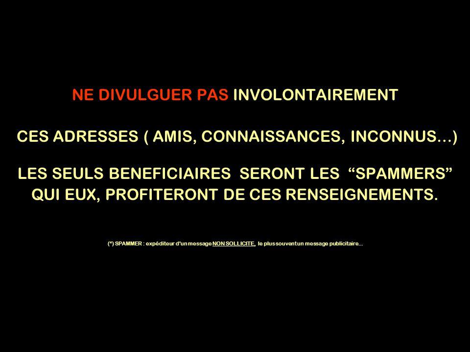 NE DIVULGUER PAS INVOLONTAIREMENT CES ADRESSES ( AMIS, CONNAISSANCES, INCONNUS…) LES SEULS BENEFICIAIRES SERONT LES SPAMMERS QUI EUX, PROFITERONT DE CES RENSEIGNEMENTS.
