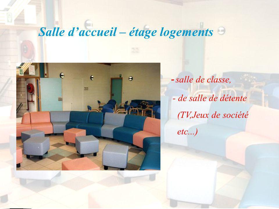 Salle daccueil – étage logements - salle de classe, - de salle de détente (TV,Jeux de société etc...)