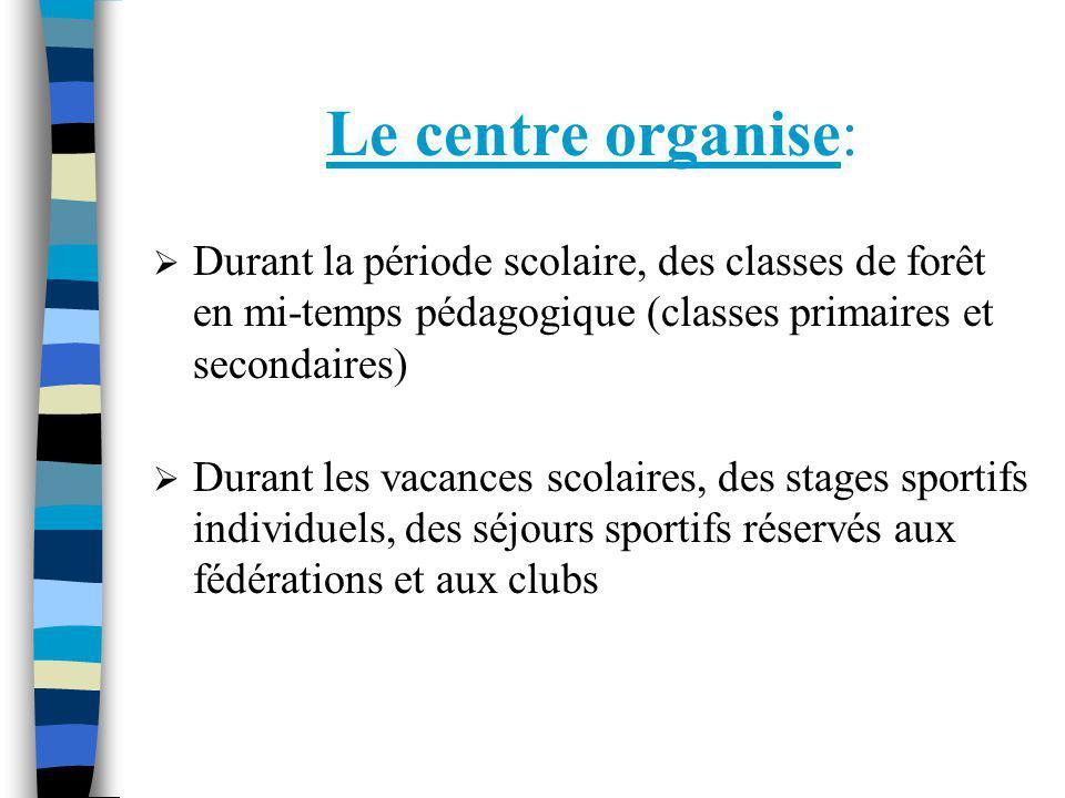 Le centre organise: Durant la période scolaire, des classes de forêt en mi-temps pédagogique (classes primaires et secondaires) Durant les vacances sc