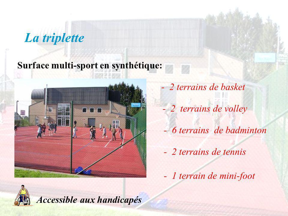 La triplette Surface multi-sport en synthétique: - 2 terrains de basket - 2 terrains de volley - 6 terrains de badminton - 2 terrains de tennis - 1 te