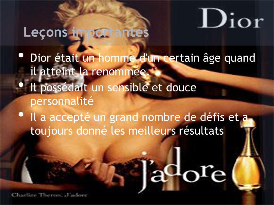 Dior était un homme d'un certain âge quand il atteint la renommée. Il possédait un sensible et douce personnalité Il a accepté un grand nombre de défi