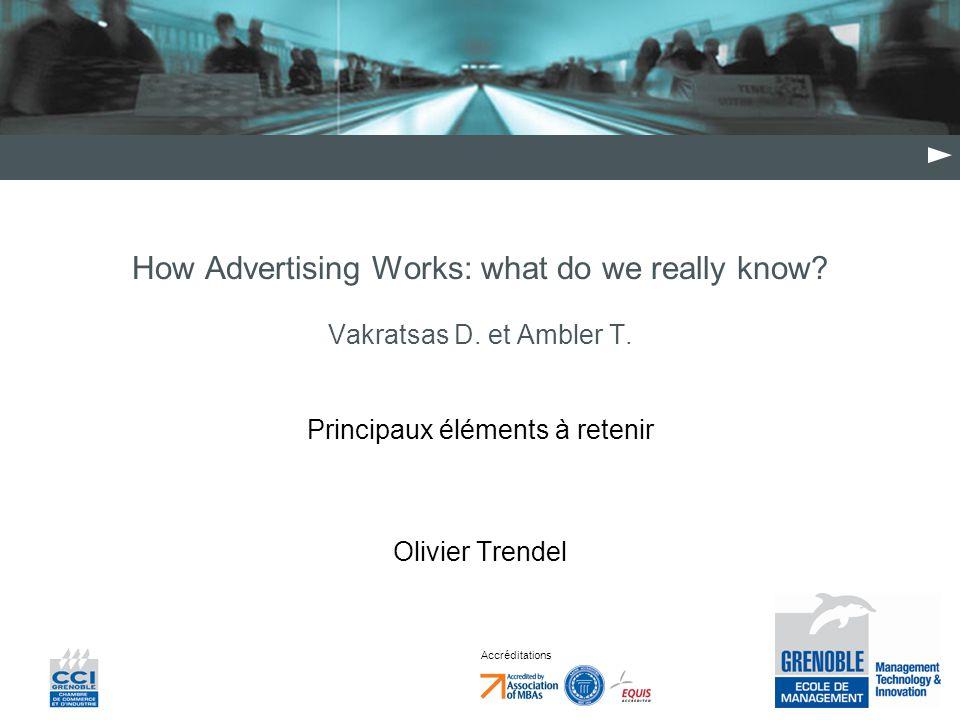 Accréditations How Advertising Works: what do we really know? Vakratsas D. et Ambler T. Principaux éléments à retenir Olivier Trendel