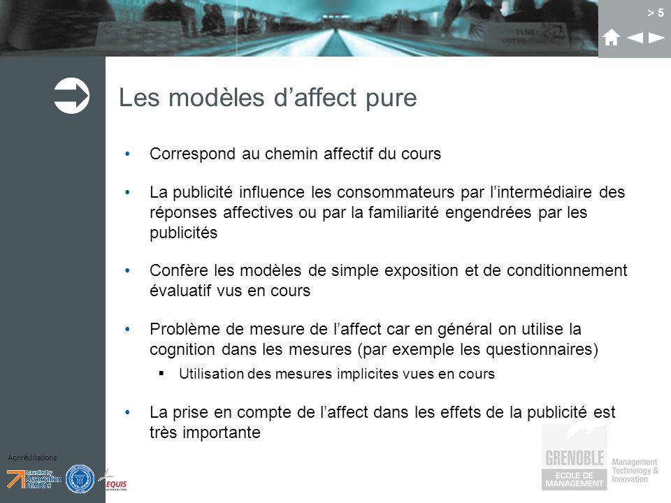 Accréditations > 5 Les modèles daffect pure Correspond au chemin affectif du cours La publicité influence les consommateurs par lintermédiaire des rép