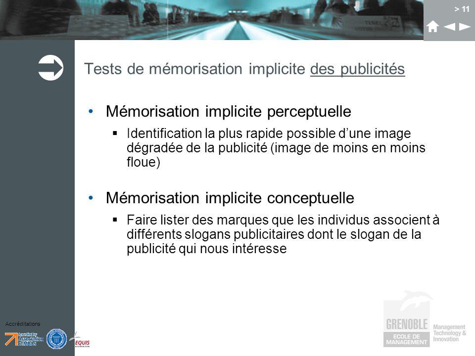 Accréditations > 11 Tests de mémorisation implicite des publicités Mémorisation implicite perceptuelle Identification la plus rapide possible dune ima