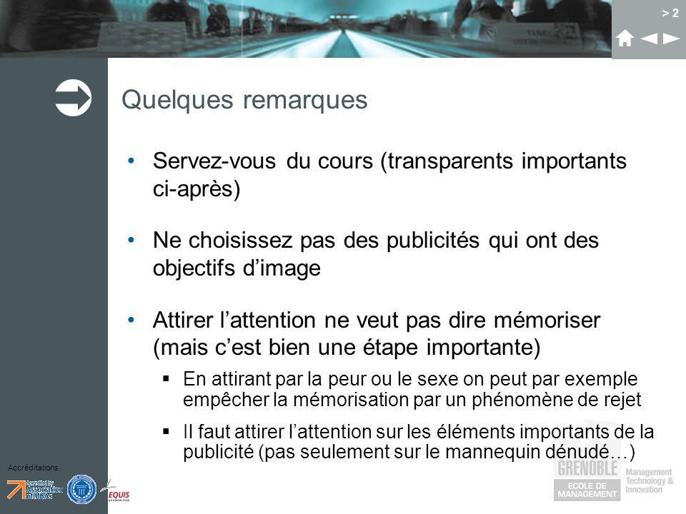 Accréditations > 2 Quelques remarques Servez-vous du cours (transparents importants ci-après) Ne choisissez pas des publicités qui ont des objectifs d
