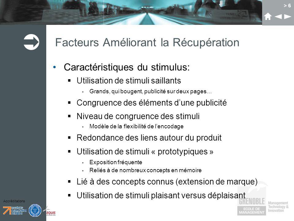 Accréditations > 6 Facteurs Améliorant la Récupération Caractéristiques du stimulus: Utilisation de stimuli saillants Grands, qui bougent, publicité s