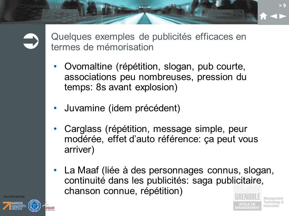 Accréditations > 9 Quelques exemples de publicités efficaces en termes de mémorisation Ovomaltine (répétition, slogan, pub courte, associations peu no