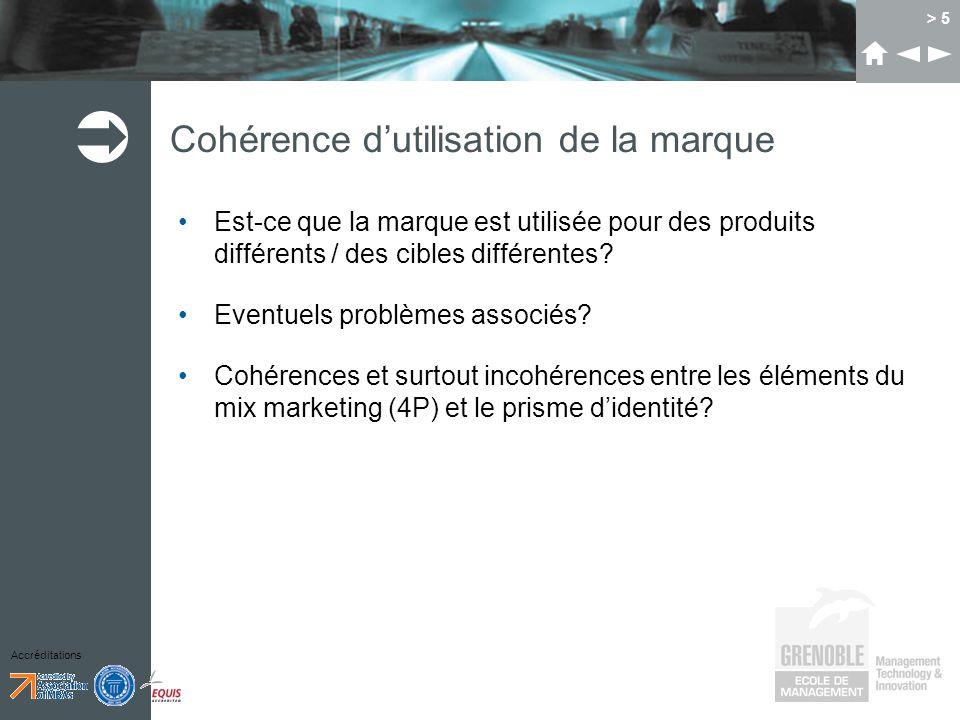 Accréditations > 5 Cohérence dutilisation de la marque Est-ce que la marque est utilisée pour des produits différents / des cibles différentes.