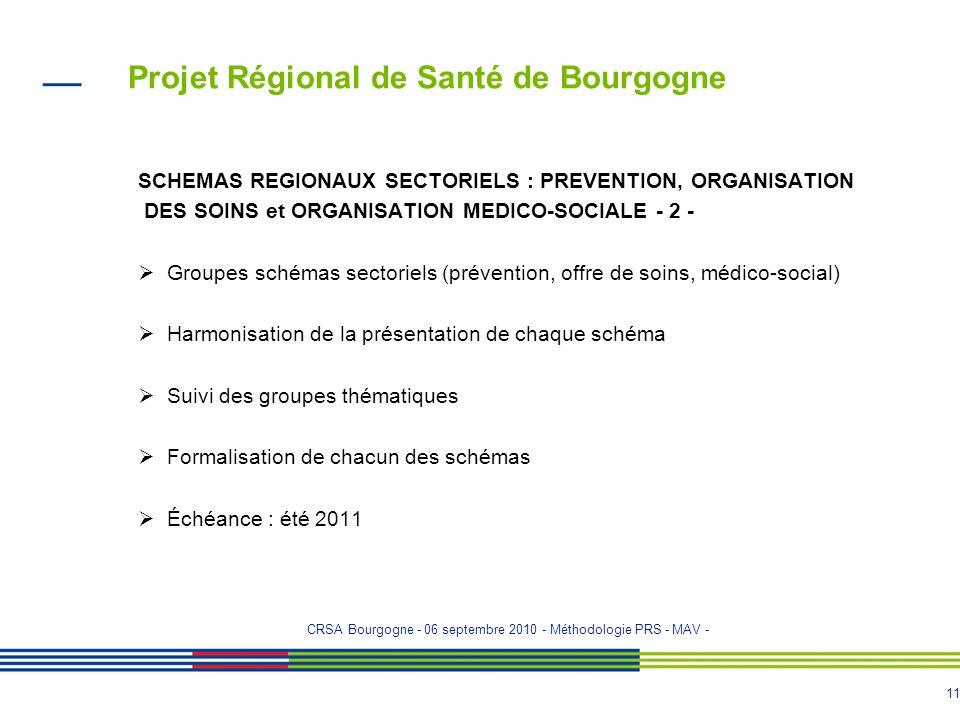 10 Projet Régional de Santé de Bourgogne SCHEMAS REGIONAUX SECTORIELS : PREVENTION, ORGANISATION DES SOINS et ORGANISATION MEDICO-SOCIALE - 1 - Dès la