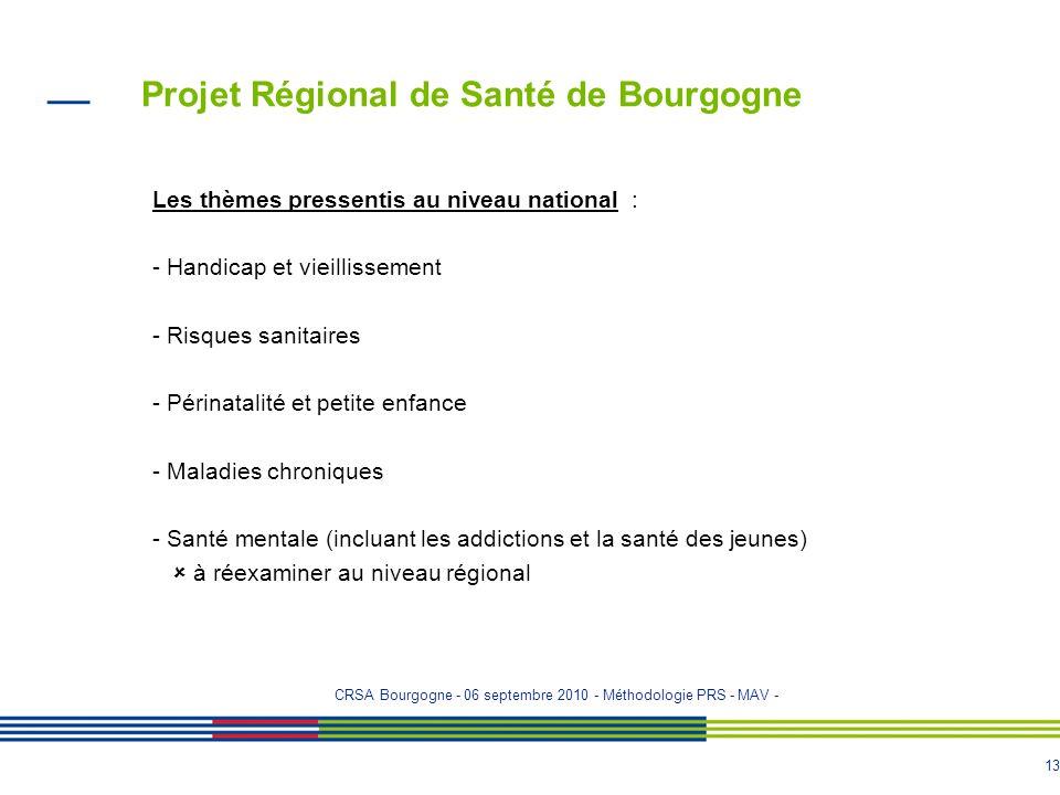 12 Projet Régional de Santé de Bourgogne LES PROGRAMMES Début des travaux entre novembre 2010 et janvier 2011 Programme daccès à la prévention et aux