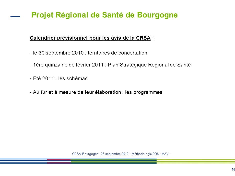 13 Projet Régional de Santé de Bourgogne Les thèmes pressentis au niveau national : - Handicap et vieillissement - Risques sanitaires - Périnatalité e