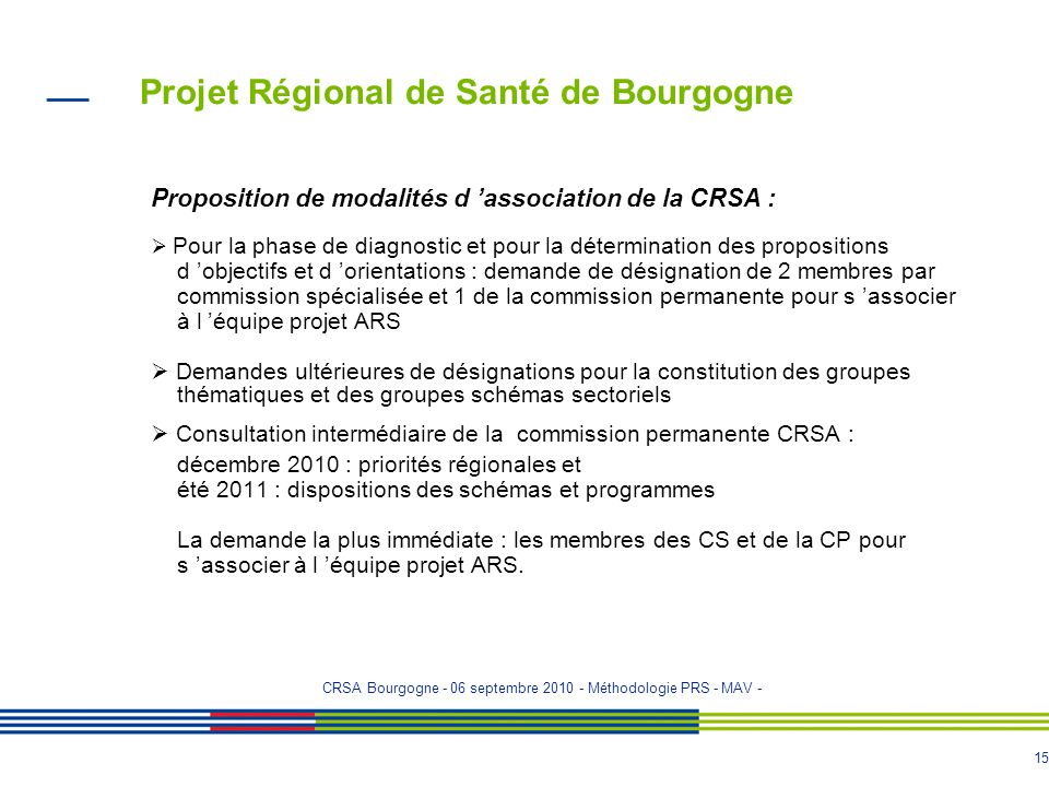14 Projet Régional de Santé de Bourgogne Calendrier prévisionnel pour les avis de la CRSA : - le 30 septembre 2010 : territoires de concertation - 1èr