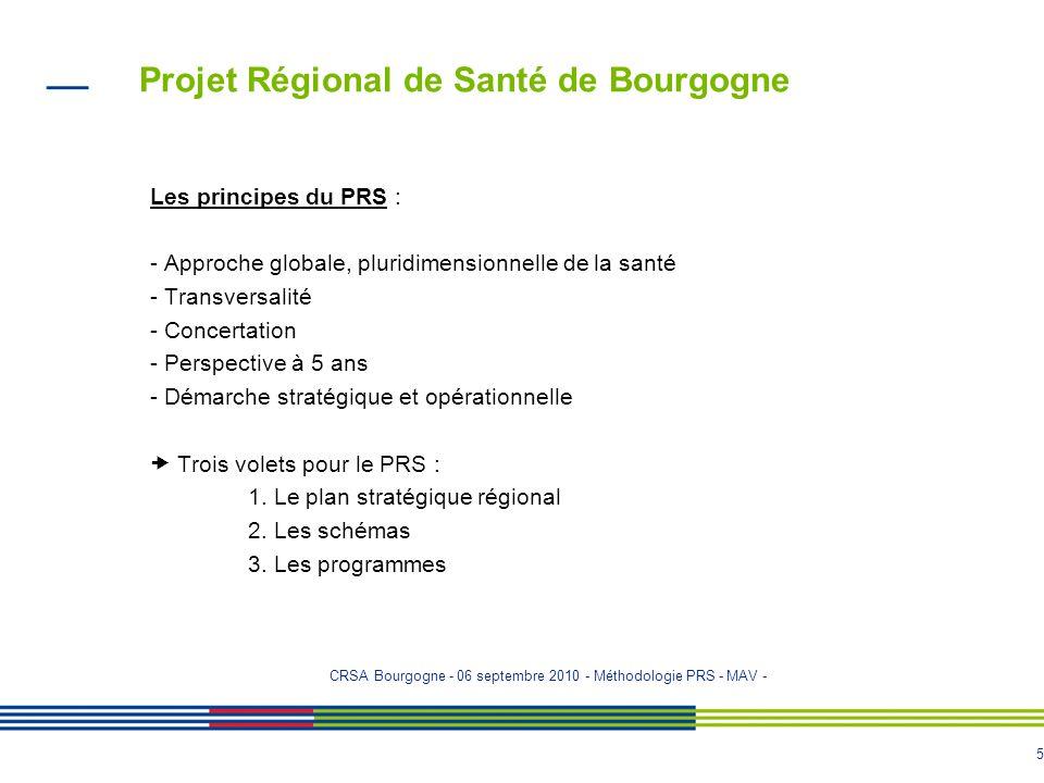 4 Projet Régional de Santé de Bourgogne Les objectifs majeurs du PRS : - Améliorer la santé de la population et réduire les inégalités de santé - Amél