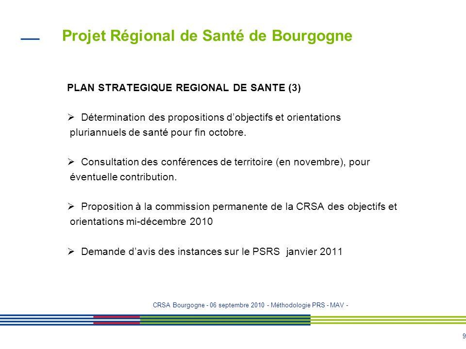 8 Projet Régional de Santé de Bourgogne PLAN STRATEGIQUE REGIONAL DE SANTE (2) Diagnostic partagé régional : partage et analyse des données - avec la