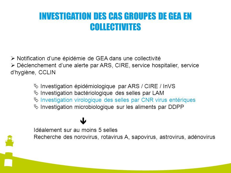 INVESTIGATION DES CAS GROUPES DE GEA EN COLLECTIVITES Notification dune épidémie de GEA dans une collectivité Déclenchement dune alerte par ARS, CIRE,