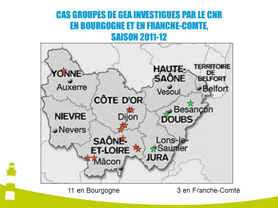 CAS GROUPES DE GEA INVESTIGUES PAR LE CNR EN BOURGOGNE ET EN FRANCHE-COMTE, SAISON 2011-12 11 en Bourgogne3 en Franche-Comté