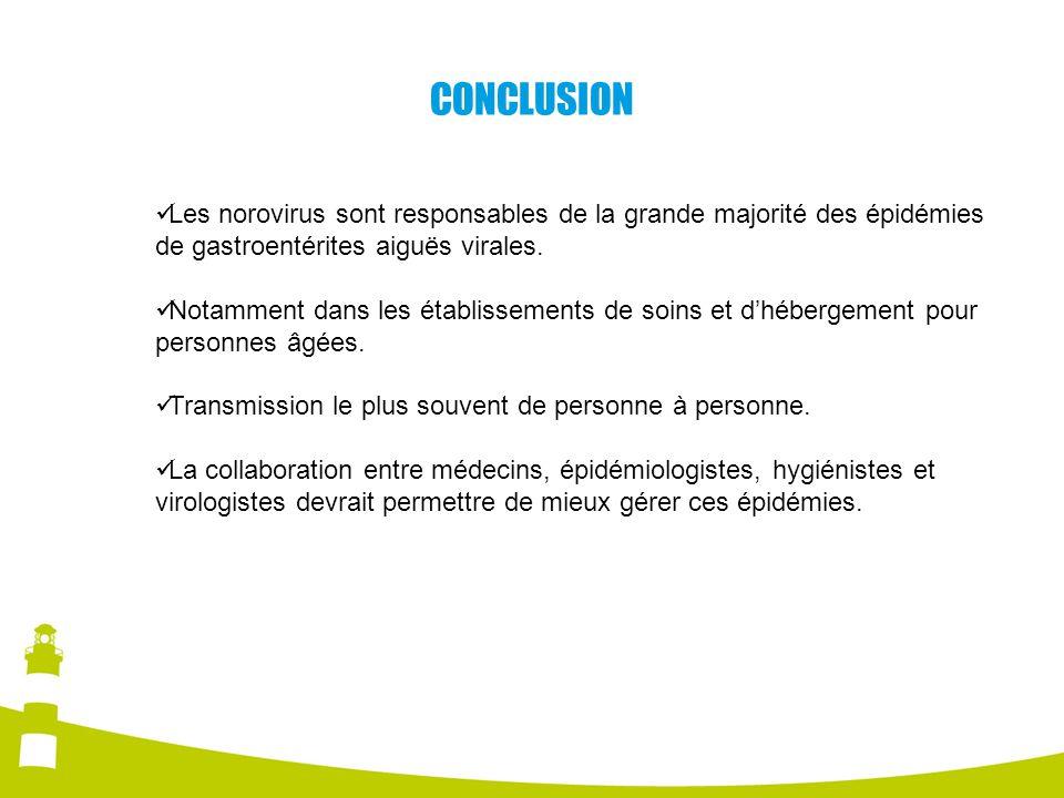 CONCLUSION Les norovirus sont responsables de la grande majorité des épidémies de gastroentérites aiguës virales. Notamment dans les établissements de