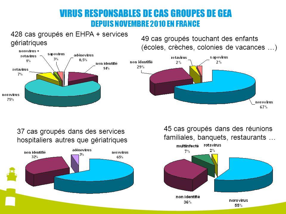 VIRUS RESPONSABLES DE CAS GROUPES DE GEA DEPUIS NOVEMBRE 2010 EN FRANCE 428 cas groupés en EHPA + services gériatriques 49 cas groupés touchant des en