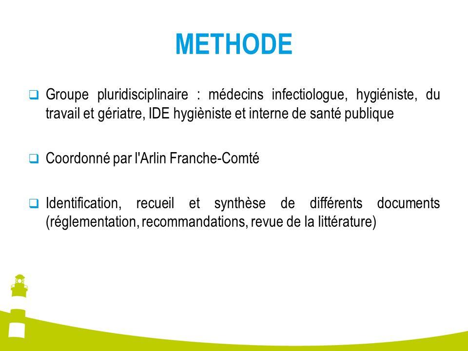 METHODE Groupe pluridisciplinaire : médecins infectiologue, hygiéniste, du travail et gériatre, IDE hygièniste et interne de santé publique Coordonné