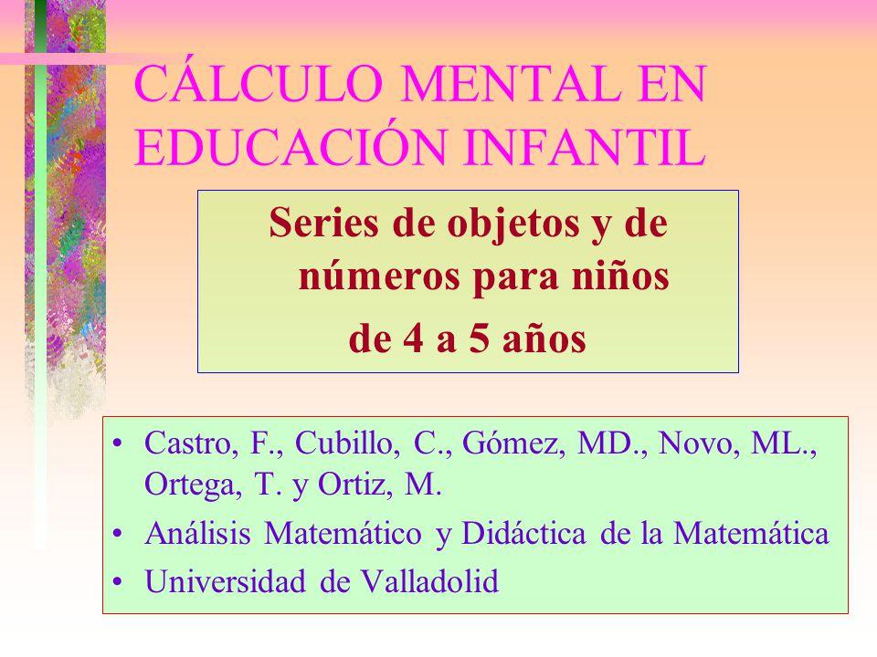 CÁLCULO MENTAL EN EDUCACIÓN INFANTIL Series de objetos y de números para niños de 4 a 5 años Castro, F., Cubillo, C., Gómez, MD., Novo, ML., Ortega, T.