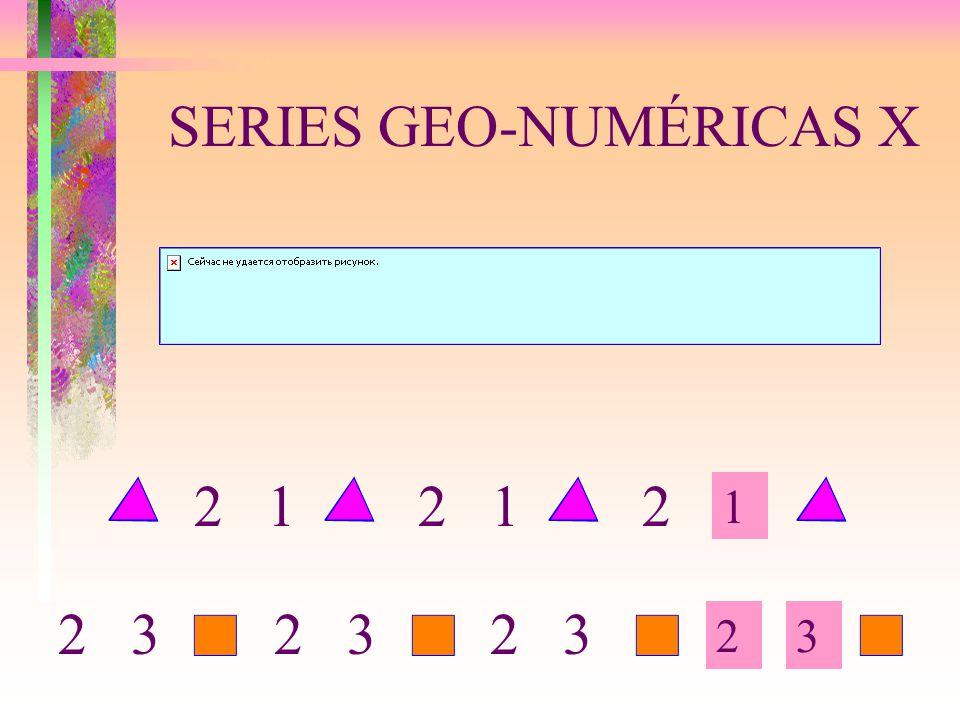 SERIES GEO-NUMÉRICAS X 1 23 2 1 2 2 3