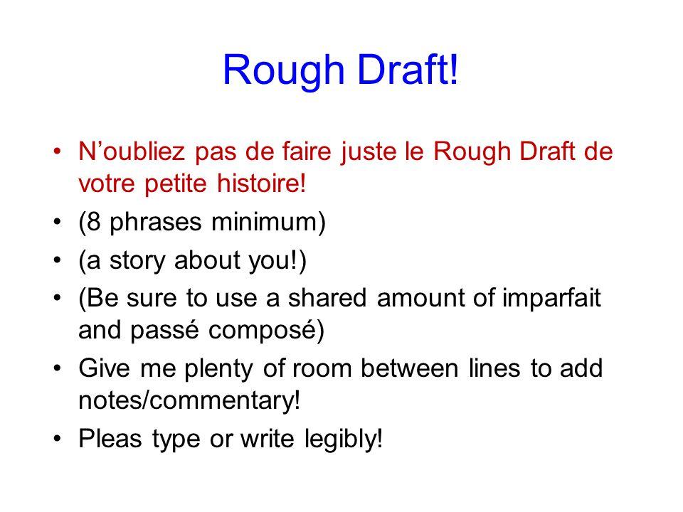 Rough Draft.Noubliez pas de faire juste le Rough Draft de votre petite histoire.