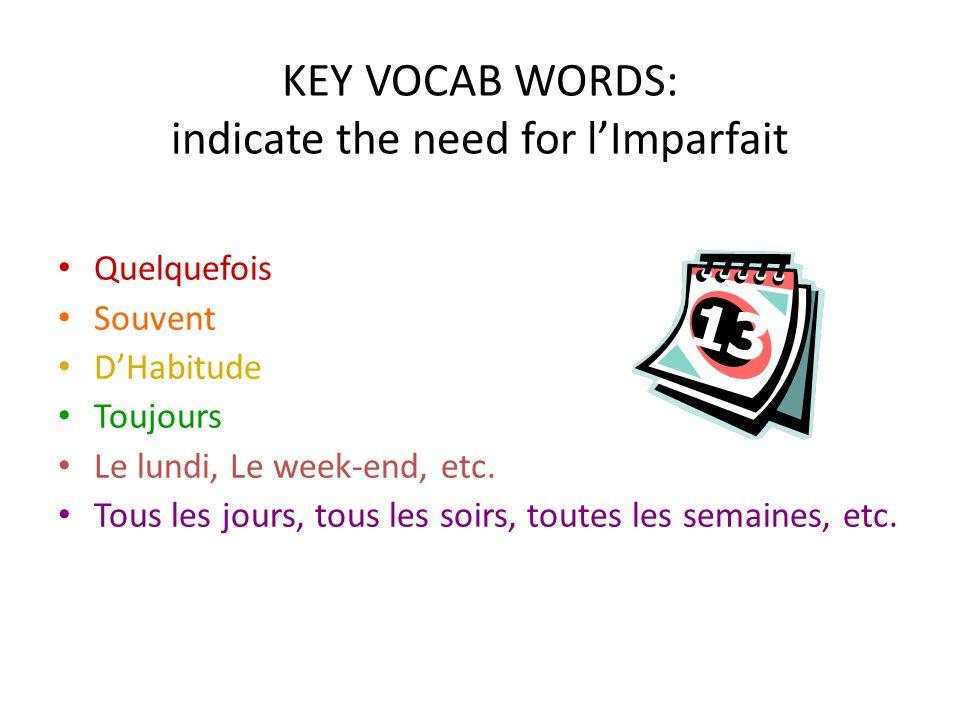 KEY VOCAB WORDS: indicate the need for lImparfait Quelquefois Souvent DHabitude Toujours Le lundi, Le week-end, etc. Tous les jours, tous les soirs, t