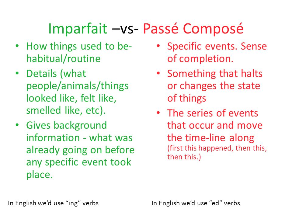 Imparfait –vs- Passé Composé How things used to be- habitual/routine Details (what people/animals/things looked like, felt like, smelled like, etc). G