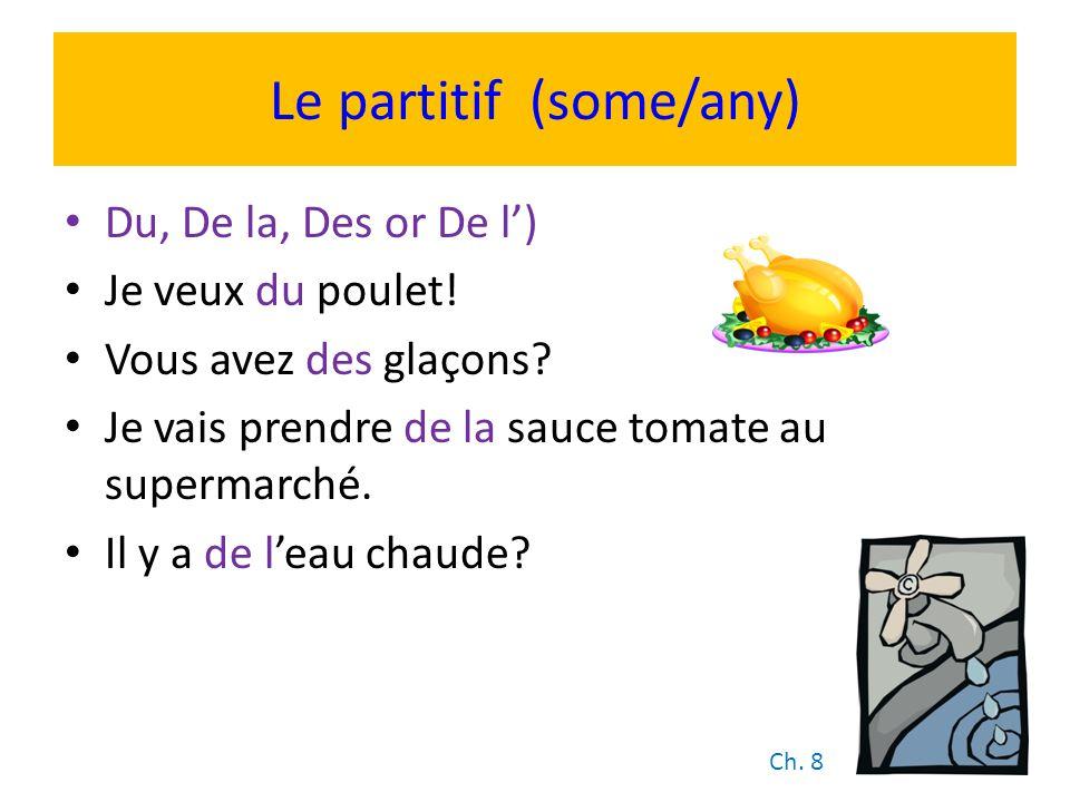 Le partitif (some/any) Du, De la, Des or De l) Je veux du poulet! Vous avez des glaçons? Je vais prendre de la sauce tomate au supermarché. Il y a de
