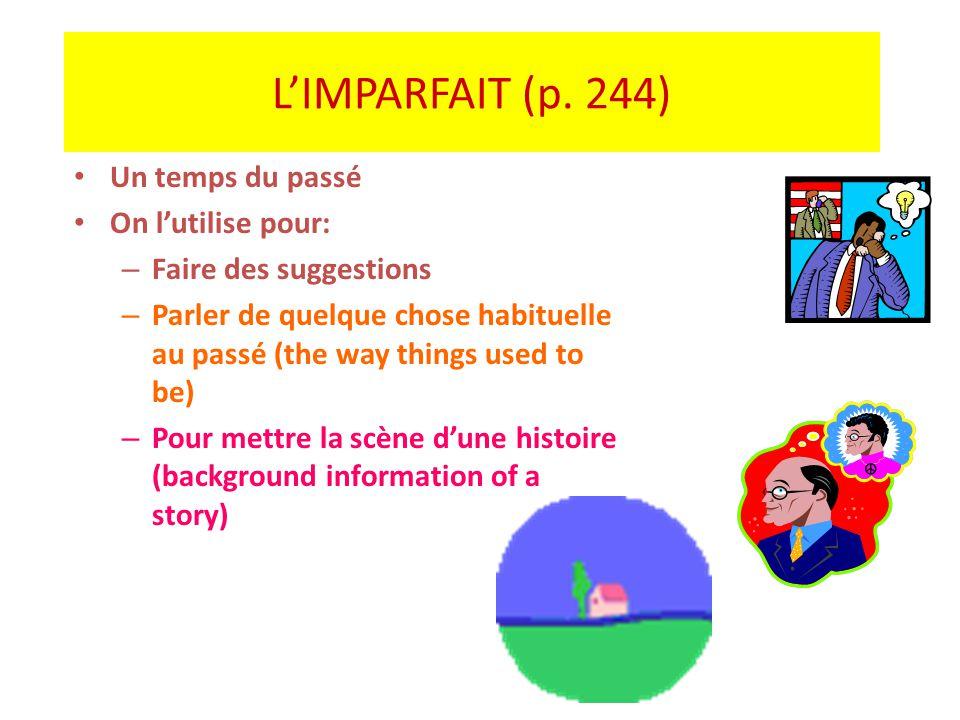 LIMPARFAIT (p. 244) Un temps du passé On lutilise pour: – Faire des suggestions – Parler de quelque chose habituelle au passé (the way things used to