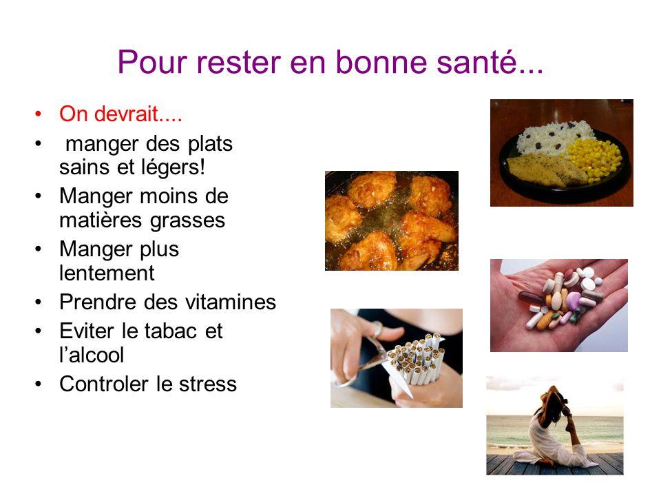 Pour rester en bonne santé... On devrait.... manger des plats sains et légers! Manger moins de matières grasses Manger plus lentement Prendre des vita