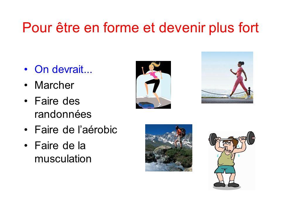 Pour être en forme et devenir plus fort On devrait... Marcher Faire des randonnées Faire de laérobic Faire de la musculation