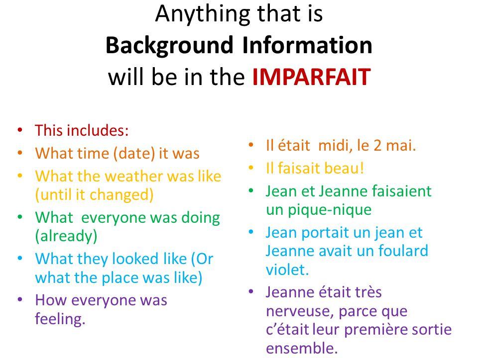 To say what you were doing (At any time) Youd use Limparfait Je tai téléphoné hier, mais tu na pas répondu.